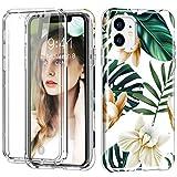 Dmtrab Para iPhone 11 a Prueba de Golpes PC + TPU Funda Protectora Trasera + Protector de Pantalla Delantero para Mascotas (Flor Blanca) (Color : White Flower)