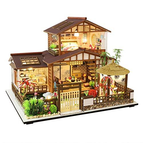 Casa de muñecas en miniatura con muebles, kit de casa de muñecas, miniatura montada,...