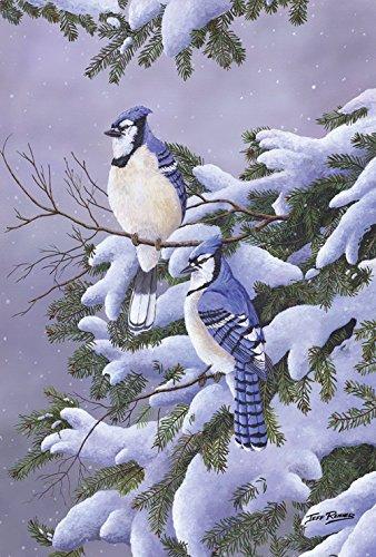 Diavy Home Garden Two Blues 12.5 x 18 Inch Decorative Winter Bird Snow Pine Garden Flag