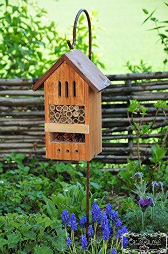 ÖLBAUM Haus Insektenhotel KOMPLETT mit Schäferstock Hakenhalter Höhe 125 cm, BD-MMS Dunkelbraun braun Nistkasten Insektenkasten Insektenhaus