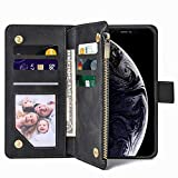 iPhone XR Wallet Case, iPhone XR Case with Card Holder, Flip Case with Magnetic Closure Adjustable with Kickstand Shockproof Protective Case for iPhone XR 6.1 Inch Compatible Wireless Charging- Black