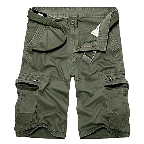 Astemdhj Pantalones Cortos Pantalones Cortos De Carga para Hombre, Militar, De Verano, Verde Militar, De Algodón para Hombre, con Bolsillo Holgado, para Hombre, Bermudas Informales, para Ho