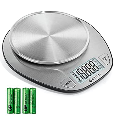Etekcity Digital Food Weighing Scale Multifunction Kitchen Scale with Large Back-lit LCD Display, 11lb/5kg Baking & Cooking Scale, Liquid Volume Measurement, Stainless Steel