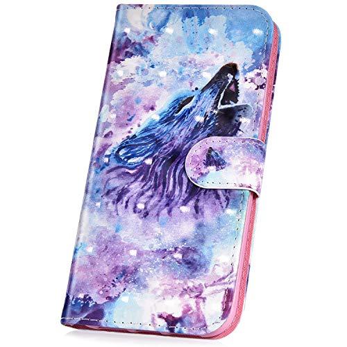 JAWSEU Compatible avec Coque Huawei Y5/Y6 2017 Cuir PU Portefeuille,Pochette Cuir à Rabat Housse de Protection 3D Rétro Créatif Motif Magnétique Stand Ultra Slim Flip Wallet Case,#3