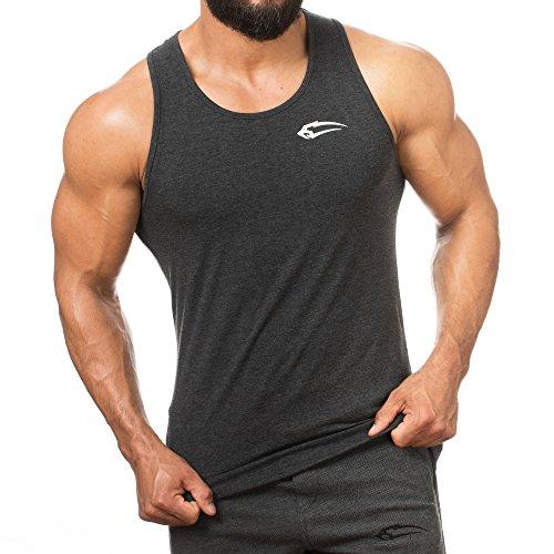 SMILODOX Tank Top Hombres   Camiseta muscular con logotipo para el deporte Gym fitness y culturismo   Musculosa camiseta con estampado - Camiseta - Camisa de axila - Pantalón corto Training Shirt, Color:antracita, Size:XXL