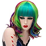 Women's Rainbow Short Wavy Cosplay Full Wig and 1 Hair Net, for Halloween Masquerade Costume Party, Curly Synthetic Hair, Length 16''; 05QC