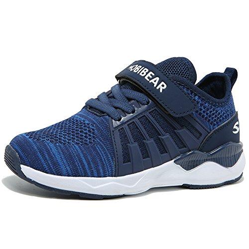 HOBIBEAR Boys Knit Running Shoes Breathable Lightweight Mesh Athletic Sneakers (DD-Dark Blue,13 Little Kid)