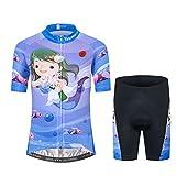 Maillot de ciclismo para niños, manga corta, diseño de dibujos animados, para ciclismo de carretera y montaña, pantalones cortos transpirables - Azul - Medium