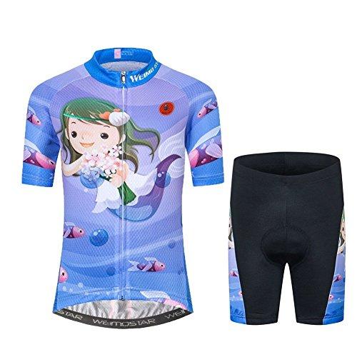 Fahrradtrikot für Kinder, kurzärmelig, Cartoon-Rennradtrikot, Mountainbike-Set, Top/Shorts für Mädchen und Jungen, atmungsaktiv - Blau - Groß