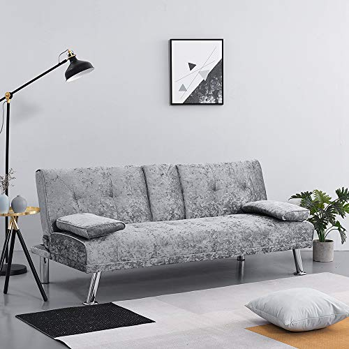 Wellgarden Modern 3 Seater Sofa Bed Crushed Velvet Sofa Couch Settee Sleeper with Cup Holders and Cushions for Living Room, Grey