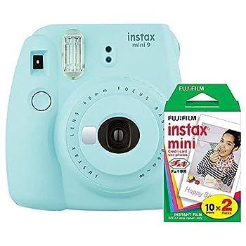 Fujifilm instax Mini 9 Instant Camera  Ice Blue  with Film Twin Pack Bundle  2 Items