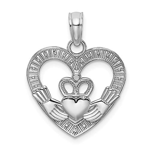 14k White Gold/textured Heart Irish Claddagh Celtic Knot Pendant Charm Necklace Love Fine Jewelry For Women Gifts For Her