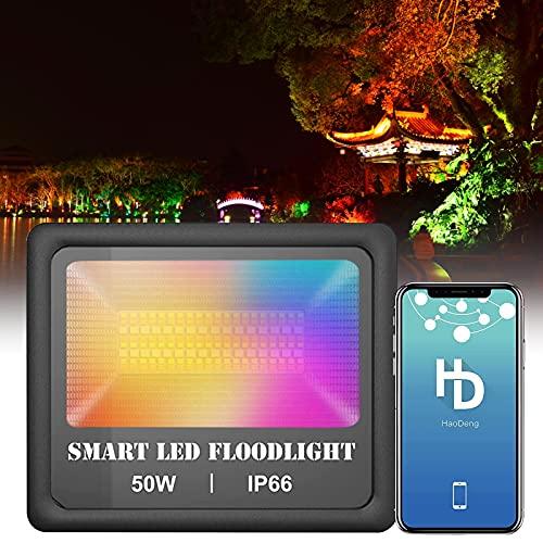Kacsoo 50W Focos LED RGB Exterior, 160.000 Colores Función De Sincronización IP66 a Prueba De Agua Foco Led Proyector con WiFi Bluetooth Control y Ritmo con La Música para Jardín Etapa (50W)