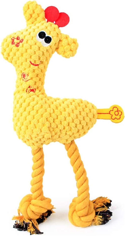 QYSZYG Pet Dog Vocal Plush Toy Multicolor Belt Cotton Rope Toy BiteResistant Pet Toy Pet Supplies pet Toy (color   Yellow)
