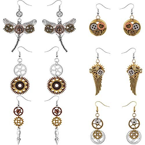 Steampunk style: cool and novelty design, 6 styles included, include gear earring, wing shape gear earring, dragonfly gear earrings, clock gear earrings, etc. Sturdy material: the earrings are made of alloy, durable and sturdy, not easy to fade, safe...