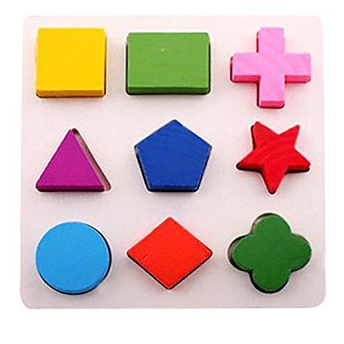 Juguetes del bebé,Niños bebé de Madera Geometría Bloques de Construcción Puzzle Aprendizaje temprano Juguete Educativo LMMVP (15*15*0.5cm, A)