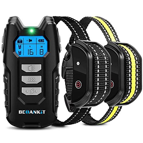 Beoankit Collier de Dressage pour Deux Chiens Rechargeable, Télécommande avec Portée de 400 Mètres, Bouton de Verrouillage et IP67 Étanche, Colliers Électrique avec Modes Vibration, Choc et Son