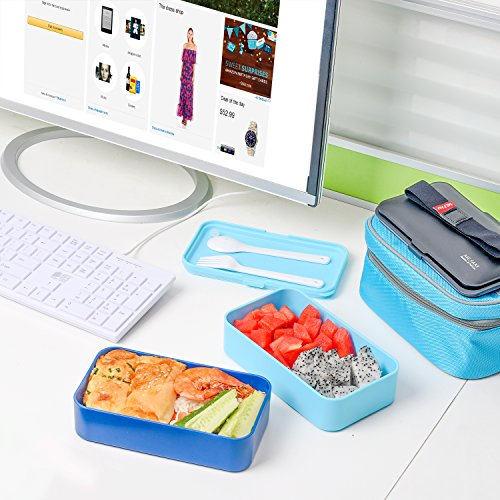 ME.FAN Leakproof Bento Lunch Box With Insulated Bag And Cutlery, All-in-one Stackable Food Container 42oz/1200ml - Deep Blue/Light Blue