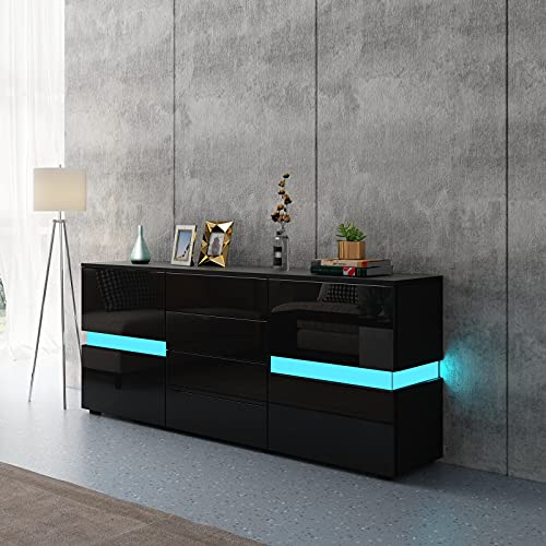 LED Sideboard Cabinet,TV Unit High Gloss Sideboards Storage Cabinet with 2 Doors 4 Drawers,TV Stands for Living Room (Black)