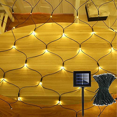 Solar-Lichterkette, 1,5 m x 1 m, 100 LEDs, Netz-Lichterkette mit dunkelgrünem Kabel, 8 Modi, Zaun, Eiszapfen,...