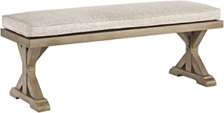 Ashley Furniture Signature Design - Beachcroft Outdoor Bench with Cushion - Dining Bench - Removable Cushion - Beige
