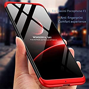 MLOTECH Funda para Xiaomi Pocophone F1, Carcasas + Cristal Templado PC Hard Case 360 Grados Slim Fit Mate Anti-Shock Anti-Rasguño Protectora Cubierta-Rojo Negro