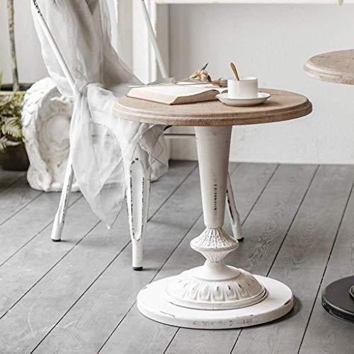H-CAR Tavolino da Salotto Rotondo in Ferro Industriale tavolino da caffè in Legno massello retrò tavolino Piccolo Divano per Soggiorno Ufficio Camera da Letto (Colore: Bianco)