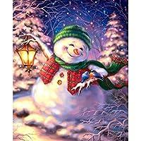 QMGLBG 500ピースの木製パズル クリスマスイブの雪だるまダイヤモンド絵画ラインストーンクリスタルクラフト壁の装飾ギフト