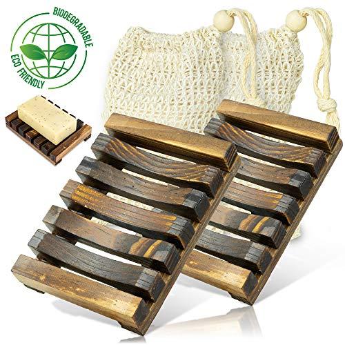 Germila Premium Seifenschale Holz [2 Stück] Handgefertigte Seifenschalen inkl. 2-Stück Peeling- Seifensäckchen | Nachhaltiger Seifenhalter | Dekorative Seifenablage | Gegen matschige Seifenreste