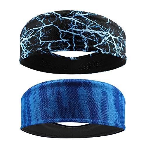 QKURT Elastisches Sport-Stirnband (2PCS), Unisex-Schweißband Yoga Fitness Sweat Stirnbänder zum Laufen, Wandern, Trainieren, Radfahren, Yoga - dehnbarer Feuchtigkeitstransport