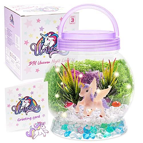 DIY Light-Up Terrarium Kit for Kids with Unicorn Toys, Building Your Wonder Garden, Unicorn Craft Nightlight Gift for Girls Age 3, 4, 5, 6, 7, 8+Years Old, Unicorn Stuff, Birthday Gift, Bedroom Decor