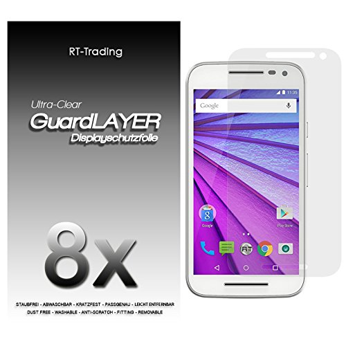 5x Motorola Moto G (3. Generation) - Bildschirm Schutzfolie Klar Folie Schutz Bildschirm Screen Protector Bildschirmfolie - RT-Trading
