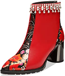 Nine Seven Genuine Leather Women's Clear Pointed Toe Rhinestone Mid Chunky Heel Handmade Zip Up Ankle Boots with Floral Prints