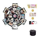 EKKONG Explosion Box, DIY Handmade Photo Album Scrapbooking,Gift Box with 6 Faces for Wedding Box, Birthday Party (Black)