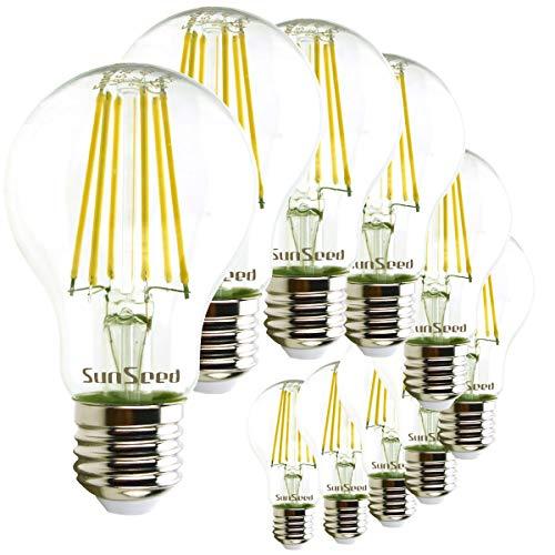 SunSeed 10x Lampadina E27 Filamento LED 9W Goccia A60 1210 Lumen Luce Naturale 4000K