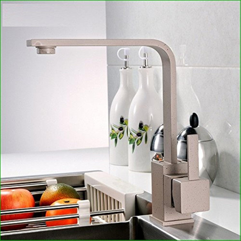 MEIBATH Küchenarmatur Mischbatterie Küche Wasserhahn Spültischarmatur Messing Warmes und kaltes Wasser drehbar Grau Wasserhahn