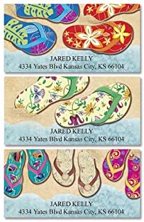 Baja Flip-Flops Personalized Return Address Labels- Set of 144, Large Self-Adhesive, Flat-Sheet Labels (3 Designs) By Colorful Images