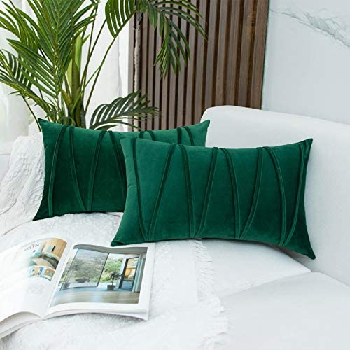 JUSPURBET Velvet Lumbar Throw Pillow Covers with Velvet Striped Pack of 2 Decorative Pillowc product image
