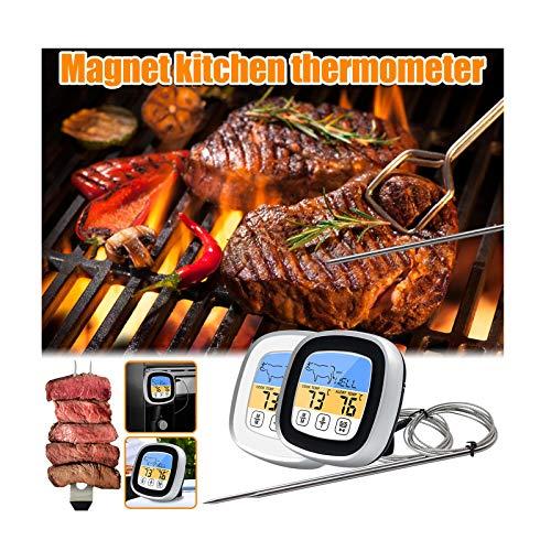2021 Sofortgelesenes Fleischthermometer 40-Zoll-Sondenkabel Digitalofen-Thermometer für sicheres Essen zum Kochen mit Touchscreen-Farb-LED-Display für Grill, Raucher, Grill -20°C to 300°C (Schwarz)
