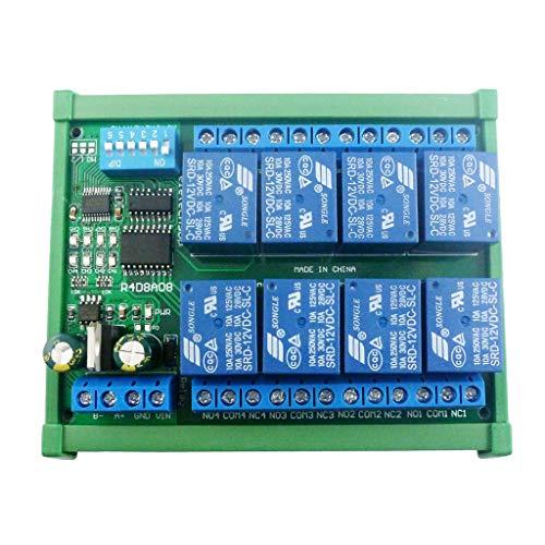 PTMD 12V 8Ch RS485 placa de relé Modbus RTU UART Interruptor de control remoto DIN35 Rail Box