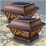 DenicMic Fence Post Solar Lights 2 Pack - Solar Powered Post Cap Lights Outdoor Deck Warm White LED...
