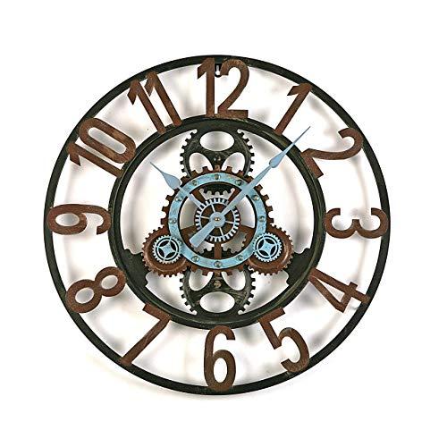 Versa - Dekorative Wanduhr für die Küche, das Wohnzimmer, Esszimmer oder Schlafzimmer. Runde Uhr mit einem Durchmesser von 60 cm. Farbe Schwarz, Blau und Braun.