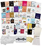 Dessie 60 Unique Birthday Cards Assortment with Generic Birthday Greetings Inside. Suitable For Men, Women and Kids At Home Or At Work. Send As Is Or Personalize. Includes Envelopes and Gold Stickers