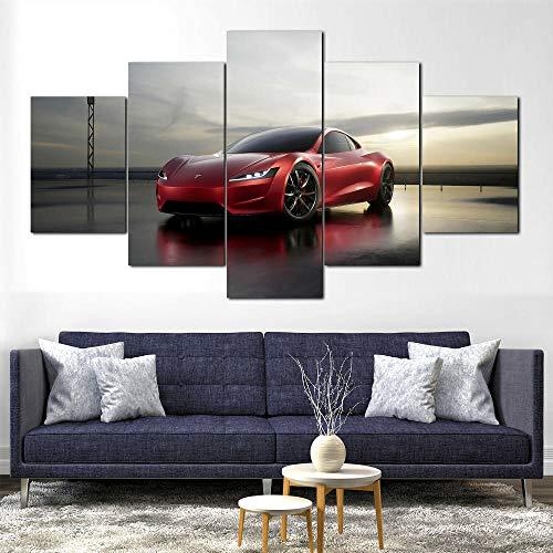 AWER Canvas Wall Art Coche eléctrico Tesla Roadster 2020 5 piezas de lienzo Foto Regalo Moderno Decoración Decorativo para Tu Salón o Dormitorio Mural Hd Con Marco