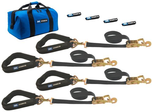 """Mac's Tie-Downs 511658 Black Pro Pack with 8' x 2"""" Direct Hook Ratchet Straps, 40"""" Through-The-Wheel Straps and Fleece Sleeves"""