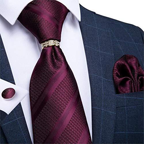 DJLHN Herren-Krawatte, Taschentuch, Manschettenknöpfe, Seide, Blau / Gold, JZ03-7168