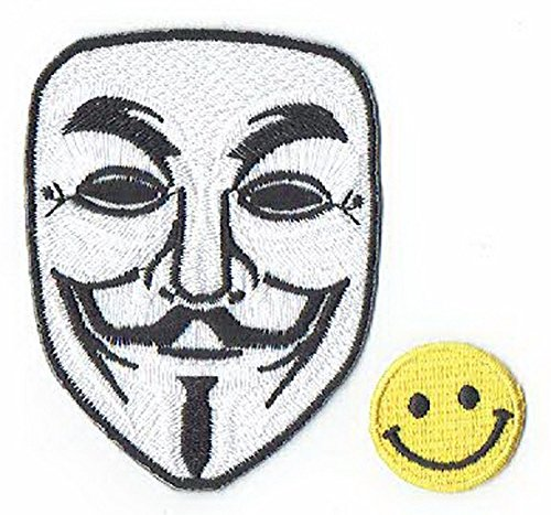 'V For Vendetta MASK' Applique embroidered iron on PATCHES (Wappen, ワッペン , 패치) with Yellow Tiny Smiley Patches by PATCH CUBE