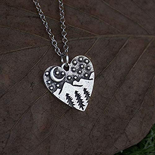 NC163 Necklace Silver Mountain Heart Charm Necklace for Women Pine Forest a Woodla Moon Outdoor Hiking Chain