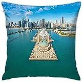 Csoos Chicago Skyline Pillow Fundas de colchón Panorama aéreo del Navy Pier Marine Metropolis Big City Silhouette Funda de Almohada