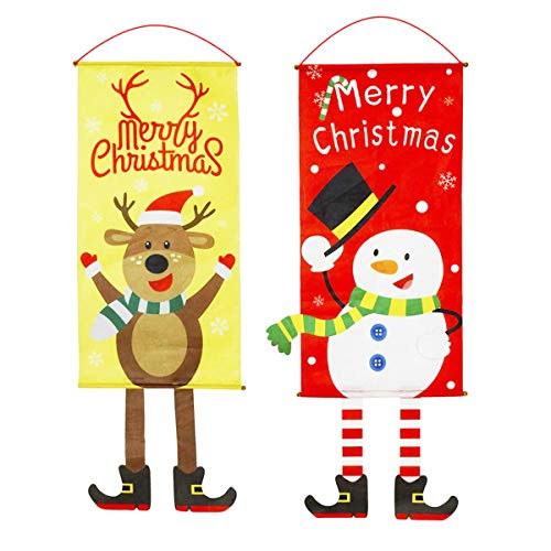 Zuzer Bandera Colgante Navidad, 2pcs Bandera Puerta Banner de Navidad Decoraciones Navideñas Decoración de Navidad Banner Ventana Decoración de La Pared 🔥